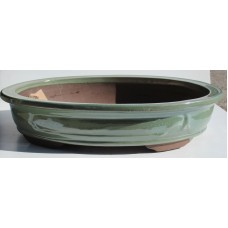 XY-101G - Set of 3 Green Glaze Oval Pots