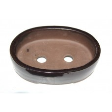 XY-114B - Set of 3 Chestnut Glaze Oval Pots