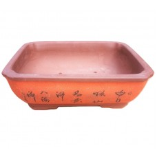 SL-214 Bonsai pots with artwork 2pcs - Red Clay