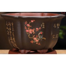 SL-210 Black Semi cascade bonsai pot - High Quality (28cm)
