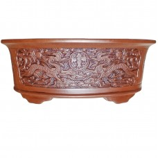 SL-908 Oval Bonsai Pots with Carved Artwork -2 sets of 2 (4pcs)