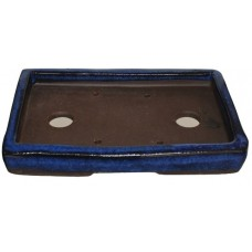 XY-123D Small rectangle Bonsai Trays - Dark Blue Glazed Set of 2