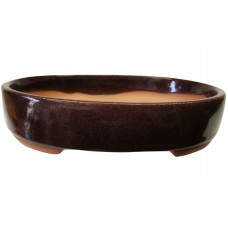 ZS15 - Burgundy Oval Bonsai Tray 18cm