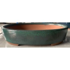 ZS10 - Green Glazed Oval  Bonsai Pot 33cm