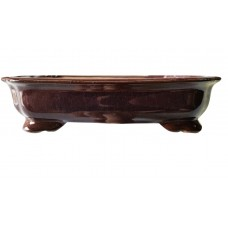 ZS62 - Burgundy Glazed Rectangle Bonsai Pot 22.5cm