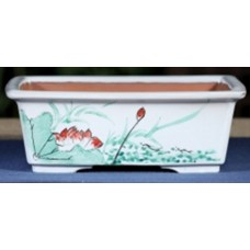 ZX110 - White Rectangle Bonsai Pot 21.5cm