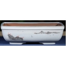 ZX118 - White Rectangle Bonsai Pot 22cm