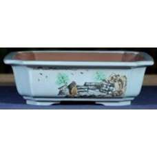 ZX130 - White Square Bonsai Pot 22cm